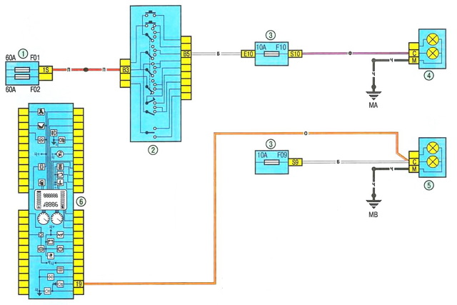Схема звукового сигнала Рено Логан 2